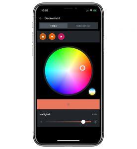 Loxone Bleuchtung Farben in der App